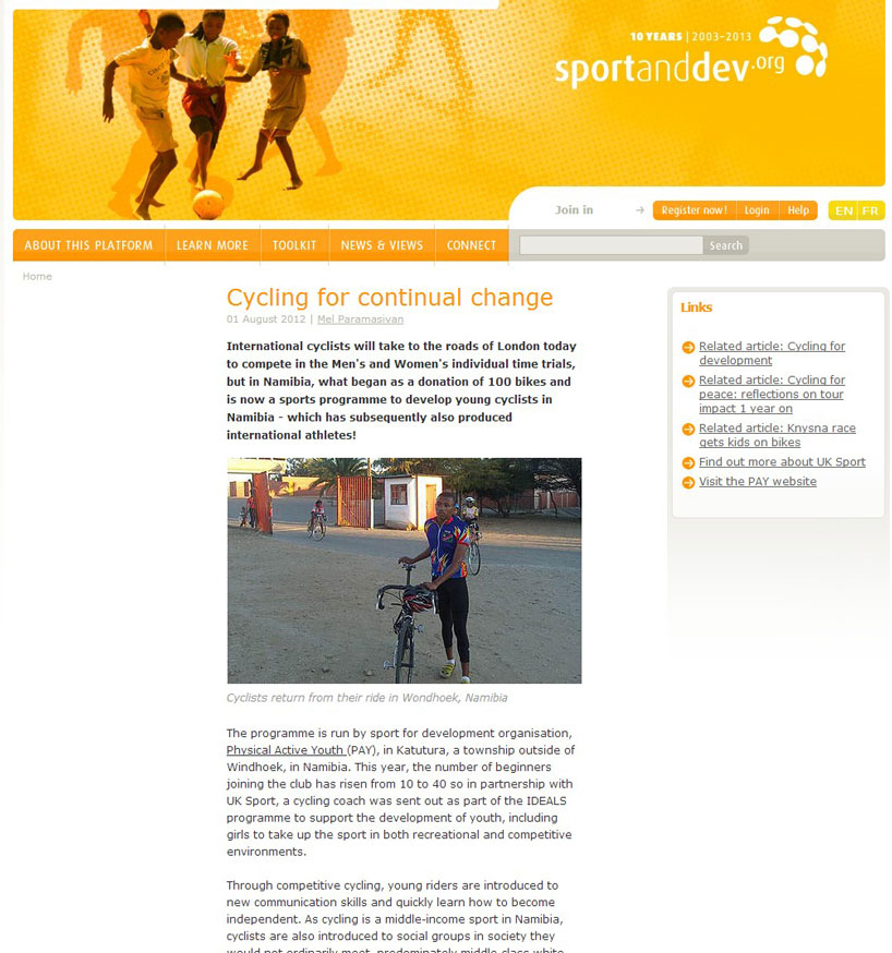 Sport & Development article about PAY