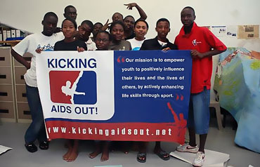 Kicking AIDS out message by P.A.Y. Namibia
